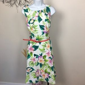 Tropical floral belted sleeveless midi dress. 14